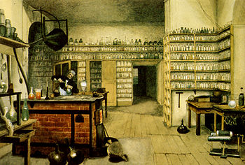 Michael Faraday in his lab, by Harriet Moore E...