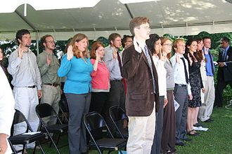 Peace Corps - Peace Corps trainees swearing in as volunteers in Madagascar, April 26, 2006.