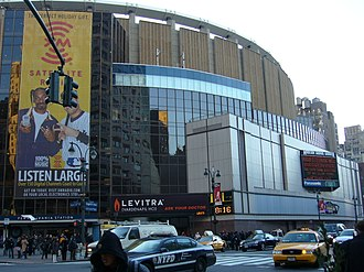 Madison Square Garden is home to the Rangers and Knicks, and hosts some Liberty games Msg2005d.JPG