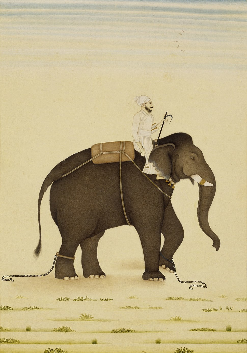 Mahout on an elephant; gouache on paper