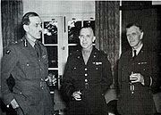 A Second World War era photograph showing Keynes (right) with surgeons Max Page and Col. Oramel H. Stanley.