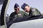 Major General Steven Polk shows off the inside of his T-6A Texan II aircraft to Colonel Ron Shoopman.jpg