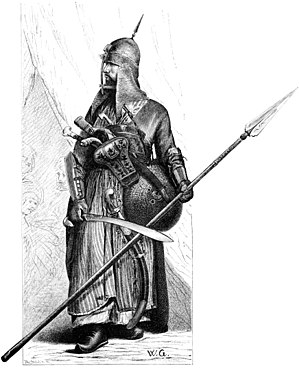 Mamluk - An Egyptian mamluk warrior in full armor and armed with lance, shield, Mameluke sword and pistols