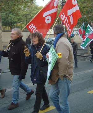 "Association for the Taxation of Financial Transactions and for Citizens' Action - French ATTAC members protesting privatization and the ""dismantling"" of public services, 2005"