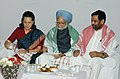 Manmohan Singh attends Iftar at the residence of the Union Minister for Chemicals and Fertilizers and Steel, Shri Ram Vilas Paswan in New Delhi. The UPA Chairperson, Smt Sonia Gandhi is also seen.jpg