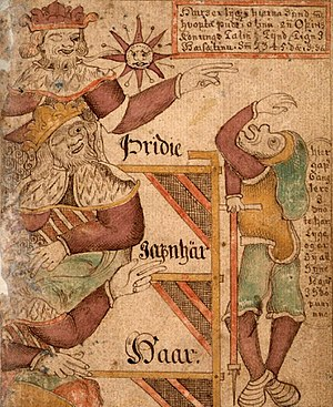 Gylfi - Gylfi is tricked in an illustration from Icelandic Manuscript, SÁM 66