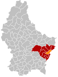 Map of Luxembourg with Grevenmacher highlighted in orange, and the canton in dark red