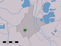 The village centre (dark green) and the statistical district (light green) of Kockengen in the former municipality of Breukelen.