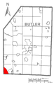 Map of Fernway, Butler County, Pennsylvania Highlighted.png
