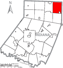Map of Indiana County, Pennsylvania Highlighting Banks Township.PNG