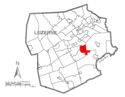 Map of Luzerne County highlighting Fairview Township