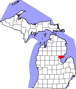 Map of Michigan highlighting Arenac County.svg