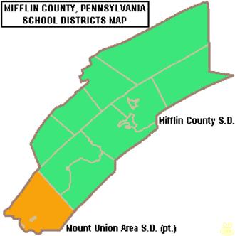 Mifflin County, Pennsylvania - Map of Mifflin County Pennsylvania Public School Districts