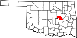 State map highlighting Okfuskee County