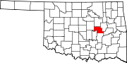 Map of Oklahoma highlighting Okfuskee County.svg
