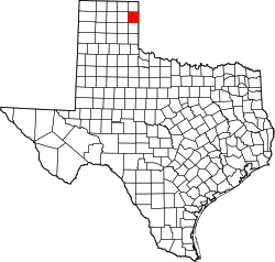 map of Texas highlighting Hemphill County