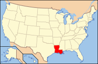 Map of the USA highlighting Louisiana