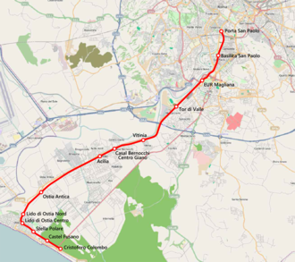 Rome–Lido railway - Map of the Rome–Lido railway.