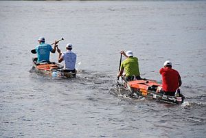 "Canoe marathon - Marathon canoeists at the ""Classique internationale de canots de la Mauricie"""