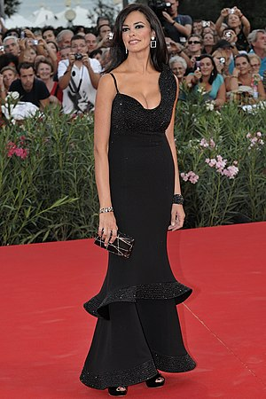 Black tie - An example of a black evening gown.