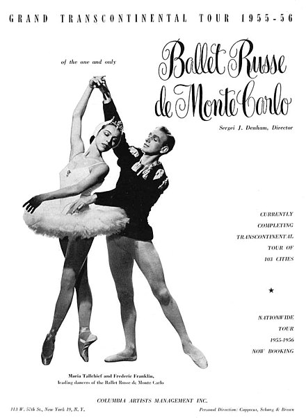 Affiche d'une tournée internationale des Ballets de Monte-Carlo (1955-1956).