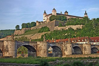Würzburg - Fortress Marienberg with Old Main Bridge in the front