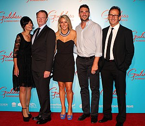 Jobe Watson - Watson (second from right) with friends at the premiere of Goddess in Sydney in March 2013