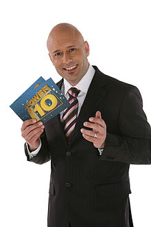 Mark Pilgrim as the host of South Africa's Power of 10 TV game show