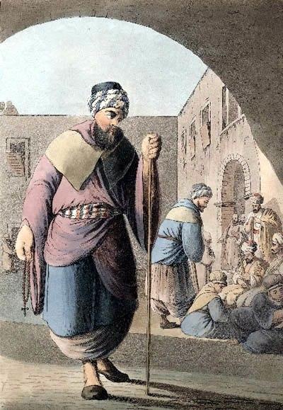 Maronite monk and pilgrims, Mount Lebanon