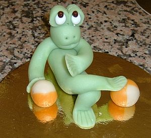 Frog made of marzipan.