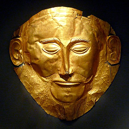 Gold 'Mask of Agamemnon' produced during the Mycenaean civilization, from Mycenae, Greece, 1550 BC MaskOfAgamemnon.jpg