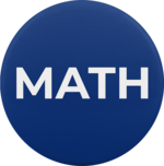 "A blue button with the capital letters, ""MATH""."