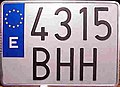 Matrícula automovilística España 2000 4315 BHH motocicleta.jpg