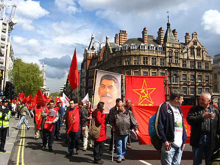 A contingent from the Communist Party of Great Britain (Marxist-Leninist) carrying a banner of Stalin at a May Day march through London in 2008. May Day in London.jpg