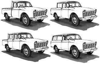 """Mazda B series - The first B1500 model: top left is the original truck, to the right the """"Pickup"""", bottom left is the double-cab truck and on the bottom right is the """"Light Van""""."""
