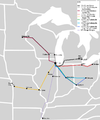 Megabus (United States) map Midwest network.png