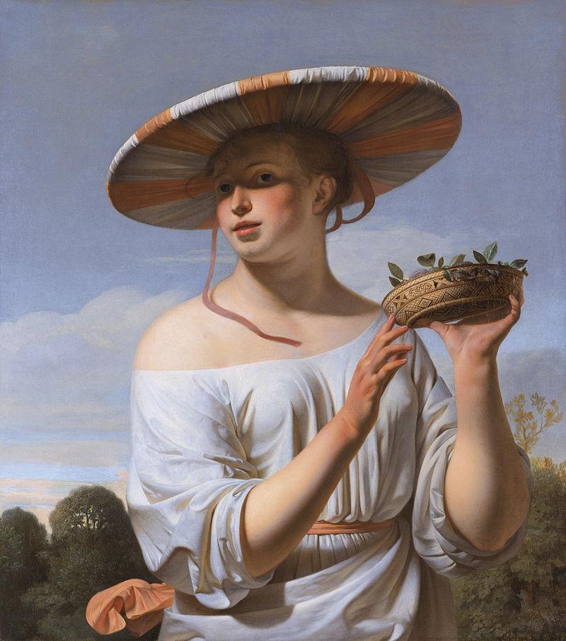 Meisje met brede hoed door Caesar van Everdingen.jpg