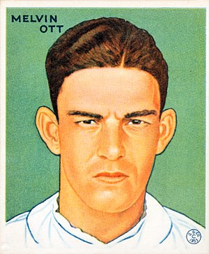 Chinese home run - Mel Ott, on a 1933 baseball card