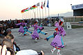 Members of the Mongolian Military Song and Dance Academic Ensemble perform a traditional dance during a Mongolian culture event as part of exercise Khaan Quest 2013 at the Five Hills Training Area in Mongolia 130804-M-DR618-035.jpg