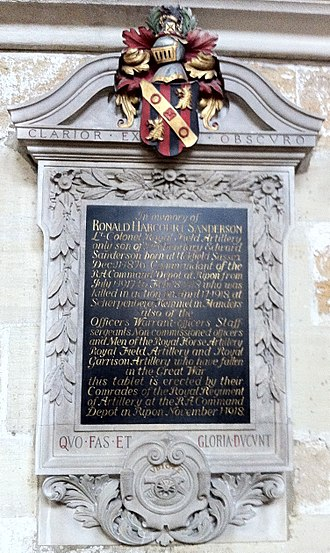 Ronald Sanderson - Memorial to Ronald Harcourt Sanderson in Ripon Cathedral