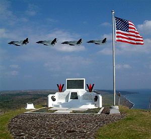 VFA-154 - VF-154 F-14s fly past the memorial on top of Mount Suribachi in March 2003