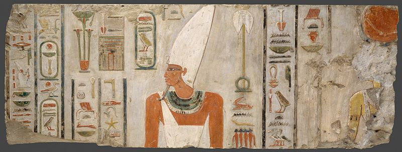 A painted relief depicting pharaoh Mentuhotep II, from his mortuary temple at Deir el-Bahari MentuhotepII.jpg