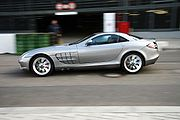 A Mercedes-Benz SLR in motion