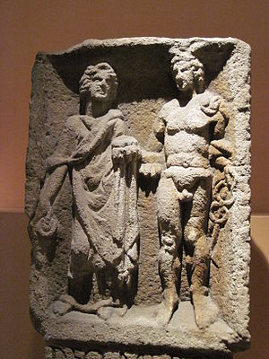 Rosmerta - Relief of Mercury and Rosmerta from Eisenberg in present-day Rhineland-Palatinate.