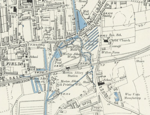 Merton Abbey railway station - Station on an 1895 Ordnance Survey map