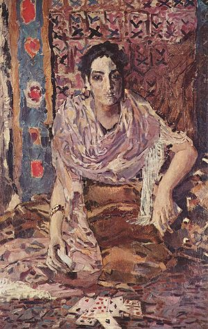 Cartomancy - The Fortune Teller, by Art Nouveau painter Mikhail Vrubel, depicting a cartomancer