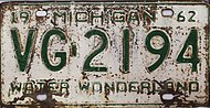 Michigan 1962 license plate - Number VG-2194.jpg