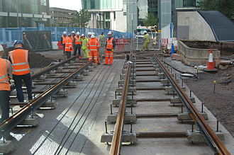 West Midlands Metro - The first tracks of the extension, laid in upper Bull Street, seen in November 2013