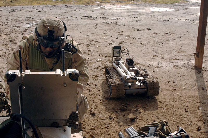 File:Military robot being prepared to inspect a bomb.jpg
