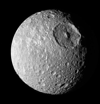 Death Star - The Saturnian moon Mimas, photographed by the Cassini probe in 2005. The large crater in the upper right (Herschel) gives it a resemblance to the Death Star.